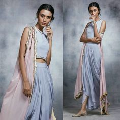 Elegance Of Eid with Here's The First Look Of Our Dhoti Pants and Cape Set Highlighted with Our Vintage Rose Embroidery and Mother Of Pearls! Pakistani Models, Pakistani Dresses, Indian Dresses, Indian Outfits, Indian Attire, Indian Wear, Modest Fashion, Fashion Outfits, Sangeet Outfit