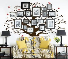 InnovativeStencils - Family Tree Wall Decal Oak Large Decal