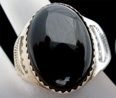 Sterling Silver Black Onyx Ring Vintage  by TheJewelryLadysStore, $78.00