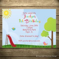 Park birthday invite pickles popcorn designs pinterest park playground birthday party invitations filmwisefo Gallery