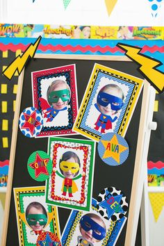 Superhero classroom theme decor by Schoolgirl Style www.schoolgirlstyle.com (I could add masks over the faces of book characters for the library door. )
