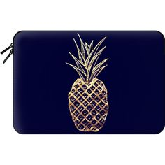 Macbook Sleeve - Faux Gold Leaf Fruity Summer Pineapples Pattern ($60) ❤ liked on Polyvore featuring accessories, tech accessories and macbook sleeve