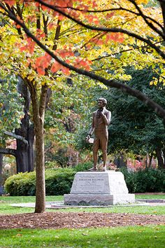 The University of Georgia dedicated a statue of Abraham Baldwin, UGA's founder and first president, in 2011. The statue is located on the university's North Campus in front of Old College. Baldwin, a member of the Georgia State House, the Continental Congress and the U.S. Senate, was a dedicated public servant.