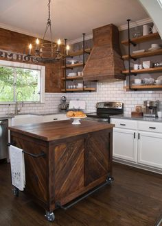 I want a mix of shelves and cabinets in the new kitchen, I love the industrial look of these. Fixer Upper: A Craftsman Remodel for Coffeehouse Owners New Kitchen, Kitchen Dining, Kitchen Decor, Kitchen Ideas, Kitchen Colors, Kitchen Vent, Kitchen Signs, Dirty Kitchen, Fixer Upper Kitchen