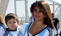 Lionel Messi's girlfriend Antonella and son Thiago watch 1-0 Iran win