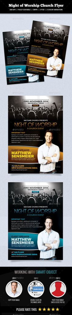 This is a Night of Worship Church Flyer Template Which is fully editablePack included: 2 PSD Files 5.25 x 7.25 inches.(0.25 bleed area.) 300 dpi CMYK. Easy Photo Replacement. Smart Object. Well Organized Layer CMYK Color Mode Editable Text Layers Fully Editabl