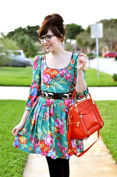 I love the bright colors! And that red purse is pretty awesome