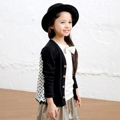 d8a7e0f92c2f2 GreenTomato 水玉ヒラヒラカーディガン(ブラック) - 韓国子供服 通販 リズハピネス  キッズ服