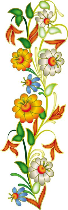 Image du Blog zezete2.centerblog.net Art Floral, Floral Drawing, Motif Floral, Folk Art Flowers, Flower Art, Easy Paintings, Beautiful Paintings, Embroidery Patterns, Hand Embroidery