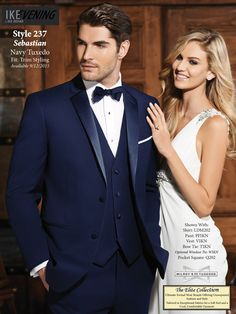 The Sebastian Tuxedo in Navy- Available at Milroy's!  www.MilroysTuxedos.com