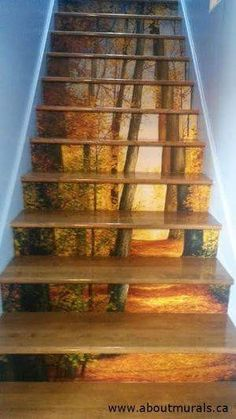 Love what this client did with a wallpaper mural I carry on my website. This tree is usually used for doorways but looks fab on stairs. Love me some forest art! Stairway Art, Stairway To Heaven, Escalier Art, Lit Wallpaper, Forest Wallpaper, Painted Stairs, Painted Wall Murals, Tree Wall Murals, Forest Art