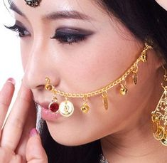 BOLLYWOOD NOSE CHAIN W/ COINS & BELLS (GOLD) - Item #5385 on www.bellydance.com