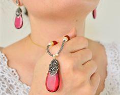 #red glass necklace earrings set, red drop earrings,# ottoman jewellery, #hurrem earrings, drop earrings dangle earrings, zircon cz diamond, 18k golden