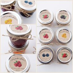 "Jam jar stickers and labels. Kraft or white 2"" labels. Bridal or Baby Shower ""jam packed with love"" labels."