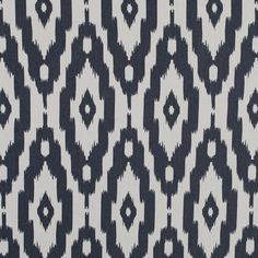 Whitecap Gray and Nightshadow Blue Ikat Printed Cotton Poplin