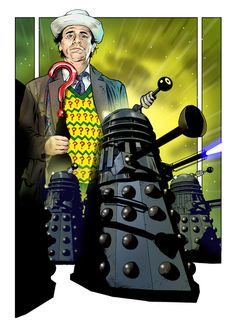 More of my Dalek art, this time Sylvester McCoy is the Doctor. Doctor Who Art, 10th Doctor, Good Doctor, Colin Baker, Sylvester Mccoy, Peter Davison, Jon Pertwee, The Rouge, Classic Doctor Who