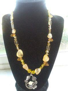 Citrine nuggets,Czech Beads,Metal floral pendant.