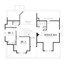 Upper Floor Plan of Mascord Plan 2281 - The Lyndon - Victorian Plan with Wrap-around Porch