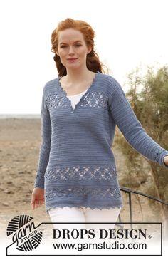 """Crochet DROPS tunic in """"Safran"""". Size: S - XXXL. ~ DROPS Design. Free Pattern."""