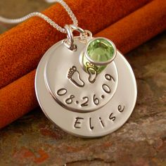 Personalized Mommy Necklace - Sterling Silver Hand Stamped Jewelry - My Baby Info Necklace