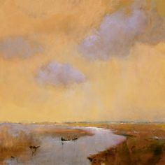 I love the simple shapes and the muted colors of this painting which together create a peaceful setting.    ~  Evening Sky  by Jan Groenhart