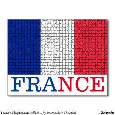 French Flag Mosaic Effect France Postcard