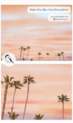 BlushBird is an online store that sells affordable art, organized by color palettes and is available as prints, canvas, tote bags and pillows. Sunset Beach California, Pink Color, Colour, Sky Painting, Affordable Art, Palm Trees, Original Art, Palette, Peach