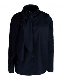 Neck-Tie Draped Wool Shirt