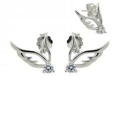 Stříbrné náušnice - křídla s puzetou Horn, Rings, Floral, Jewelry, Jewellery Making, Jewelery, Horns, Ring, Jewlery