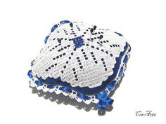 Crochet Pincushion Blue Pincushion White by CreArtebyPatty on Etsy