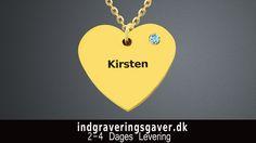 18 karat guldbelagt hjertehalskæde med ét navn Smykker nordjylland |  Håndlavede smykker nordjylland