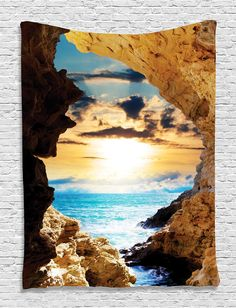 Amazon.com: Ambesonne Natural Landscapes Decor Collection, Caves and Ocean Waves, Bedroom Living Kids Girls Boys Room Dorm Accessories Wall Hanging Tapestry: Kitchen & Dining