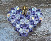 Tanzanite and Crystal AB Swarovski Crystal Puffed Heart