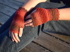 Red wool wrist warmers, crochet fingerless gloves, office gloves, thin mittens, snug driving gloves, bicycle gloves, striped wristwarmers by TinyOrchidsCrochet on Etsy