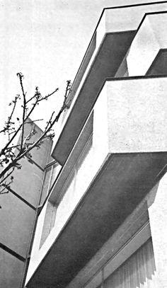 Detalle de la fachada, Edificio de departamentos, Río Támesis 6, Cuauhtémoc, México, DF 1968  Arqs. Carlos Gosselin y Martin L. Gutiérrez -   Detail of the facade, Apartment building, Rio Tamesis 6, Cuauhtemoc, Mexico City 1968