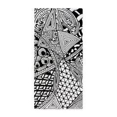 Original hand drawn Tangle Art Beach Towel