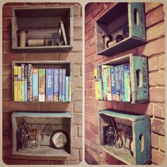 soda crate shelves DIY DVD storage