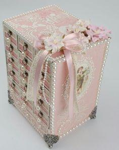 Shabby chic matchbox drawer pearl box                              …