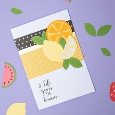 Make lemonade with a card is gorgeous as this one! 😍🍋  Link in bio for more making inspiration!  Products used: Fruit Shapes Bigz Die (663855)  Use #mymakingstory to be featured 🙌   #papercraft #craft #diecutting #sizzix #creative #handmade #creative #craftsposure #cardmaking #SizzixColorStory #shakercard #thankyoucard #occasioncard #papercrafts #fruit Arts And Crafts, Paper Crafts, Shaker Cards, Summer Fruit, Color Stories, Lemonade, Thank You Cards, Cardmaking, About Me Blog
