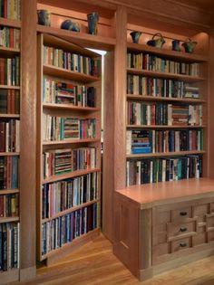This completely custom bookcase door in a home office leads to a guest bedroom. This completely custom bookcase door in a home office leads to a guest bedroom. Bookshelf Design, Bookcase Door, Home, Home Office Design, Home Library, Custom Homes, House, Hidden Rooms, Bookshelf Door