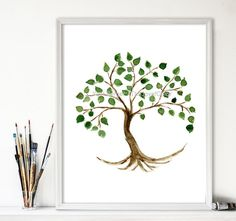 Tree of life art print, tree painting, Tree of life art, minimalist tree watercolor, Mothers day,  home decor, Green, Brown