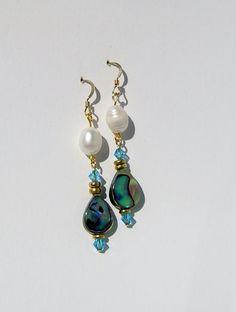 Handmade Abalone Dangle Earrings Featuring by CraftySchmantzy, $22.00
