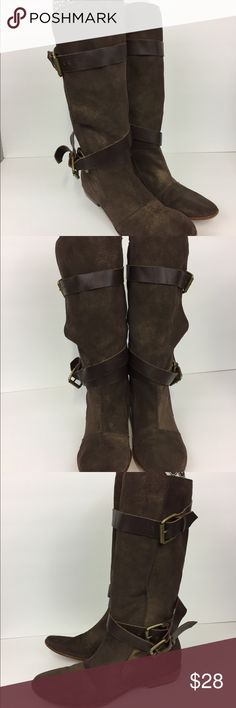 Dolce vita leather boots buckle detail bronze Dolce Vita size 9 women's boots bronze color with metallic hints. Suede with three buckles/straps. GUC  All items from smoke and pet free home.  Flaws and defects, of present, will be noted in photos and listing.  Questions welcome! Thanks for looking! Dolce Vita Shoes Combat & Moto Boots