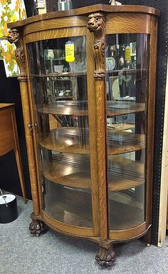 Oak Slant Sided China Cabinet, BRASS LANTERN ANTIQUES | Items To Inquire In  | Pinterest | Brass Lantern And China Cabinets