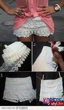 How cute are these! Cheap Sofie shorts (Wal-mart, Target, or Old Navy), lace, and fabric glue! So simple yet such a changed look for all those plain Jane pull on shorts laying in the drawer! Directions found at website on photo however they are not in English. I have done this with just fabric glue and lace. Key: do not put in the dryer, dry flat!