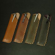 Men Women Handmade Leather Pen Pencil Case Gift Bag Creative Design Pouch #Unbranded