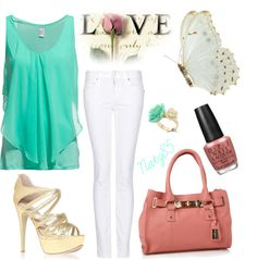 """Mint, White, Pink & Gold"" by natz85 on Polyvore.. Yes!"