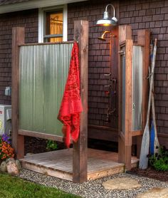 Simple, rustic outdoor shower but gets the job done! Simple, rustic outdoor shower but gets the job done! Simple, rustic outdoor shower but gets the job done! Outdoor Bathrooms, Outdoor Baths, Outdoor Rooms, Outdoor Living, Outdoor Decor, Rustic Outdoor, Outdoor Kitchens, Country Bathrooms, Simple Outdoor Kitchen