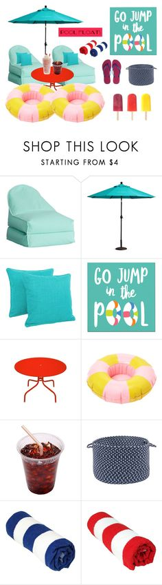 """poolside"" by nabiladea ❤ liked on Polyvore featuring interior, interiors, interior design, home, home decor, interior decorating, PBteen, Improvements, Blazing Needles and Sur La Table"