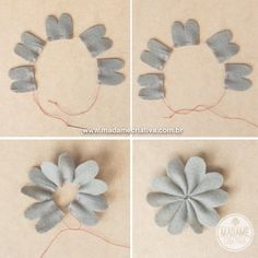 How to make felt flowers - DIY - Tutorial - Madame Criativa Handmade Flowers, Diy Flowers, Fabric Flowers, Paper Flowers, Felt Flowers Patterns, Felt Crafts, Diy And Crafts, Felt Flower Tutorial, Felt Roses